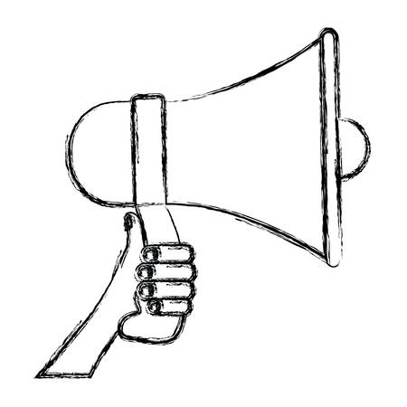 louder: monochrome blurred silhouette of hand holding megaphone vector illustration