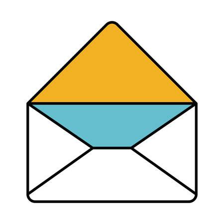 kleur delen silhouet van envelop mail geopend in close-up vectorillustratie Stock Illustratie