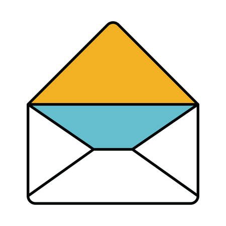 color sections silhouette of envelope mail opened in closeup vector illustration