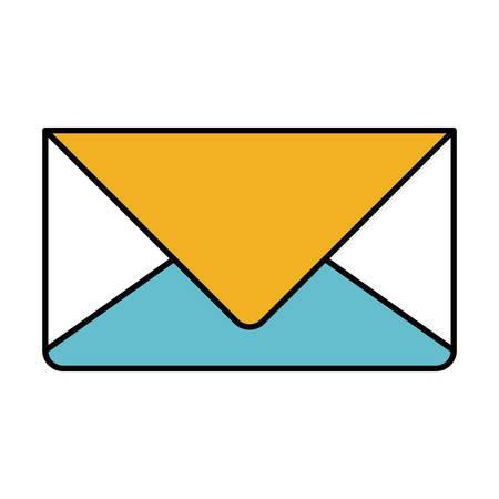 kleur sectiesilhouet van enveloppost in close-up vectorillustratie