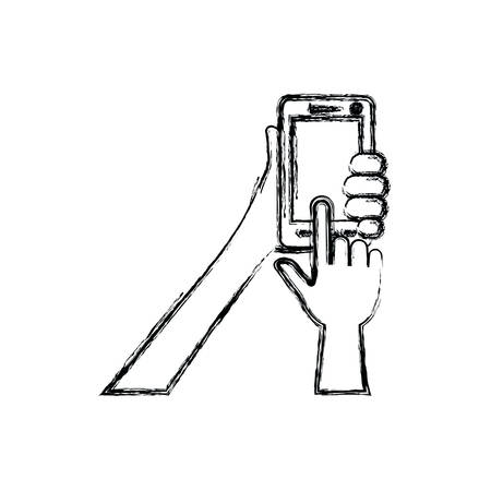 monochrome blurred silhouette of hands holding smartphone vector illustration Illustration