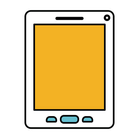 wireless connection: color sections silhouette of tablet device vector illustration