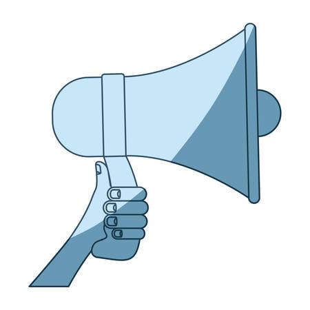 blue shading silhouette of hand holding megaphone vector illustration Illustration