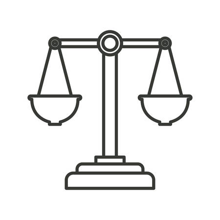 monochrome silhouette of justice scales vector illustration Illustration