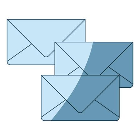 通信: blue shading silhouette of envelopes of mail vector illustration