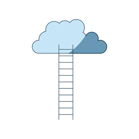 blue shading silhouette of ladder to cloud vector illustration