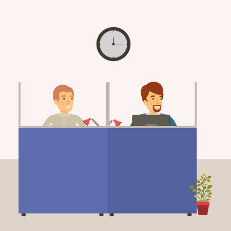color background cubicles workplace office with male employees vector illustration