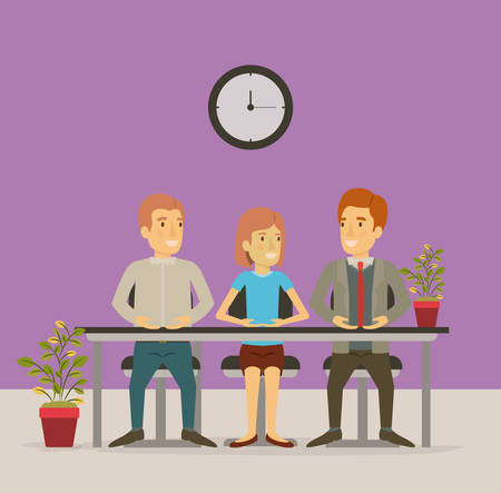coworker: color background with group people sitting in table desk meeting business people vector illustration