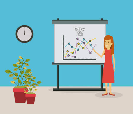 color scene businesswoman in red dress making presentation vector illustration
