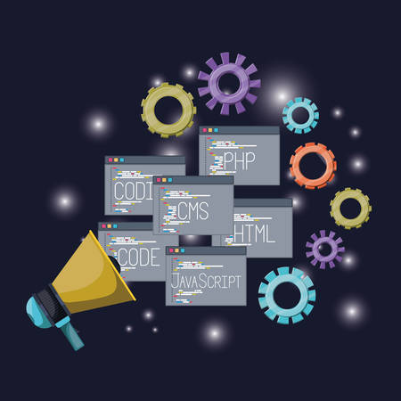 blue dark background with brightness of megaphone with set windows web programming language codes and gears vector illustration