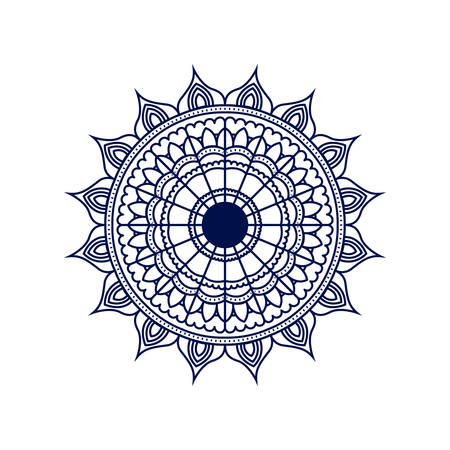 dark blue silhouette flower mandala vintage decorative ornament vector illustration