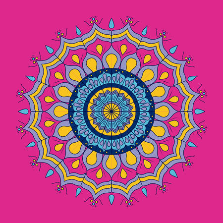 flores fucsia: fuchsia background with colorful ornamental flower mandala vintage decorative vector illustration