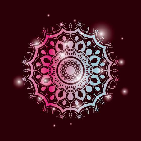 Fondo de color rojo vino con brillo y colorido brillante flor mandala vintage ornamento decorativo vector illustration Foto de archivo - 81391616