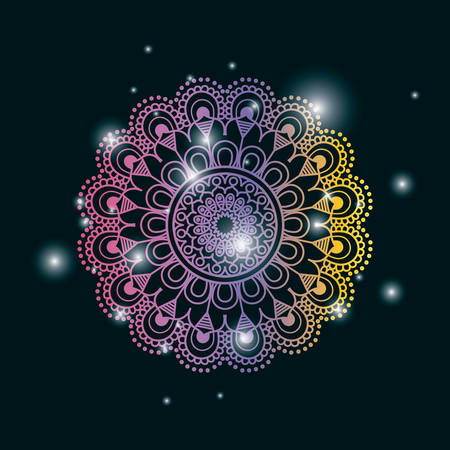blue dark color background with brightness and colorful brilliant flower mandala vintage decorative ornament vector illustration
