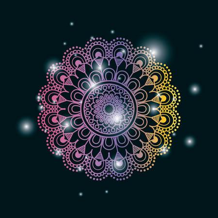 Fondo de color azul oscuro con brillo y colorido brillante flor mandala vintage ornamento decorativo vector illustration Foto de archivo - 81391645