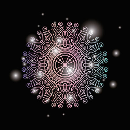 black color background with brightness and colorful brilliant ornamental flower mandala vintage decorative vector illustration