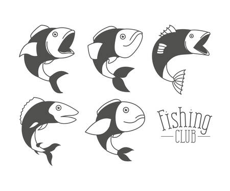 monochrome silhouette types fish and text fishing club vector illustration