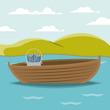 lake shore: colorful background lake landscape and fishing boat and bucket with fish vector illustration Illustration