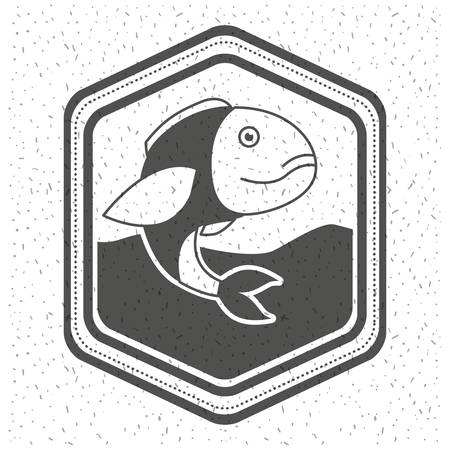 white background with sparkle of monochrome silhouette emblem with fish in the water vector illustration Illustration