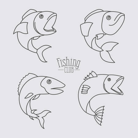 sketch silhouette types fish and text fishing club in center vector illustration