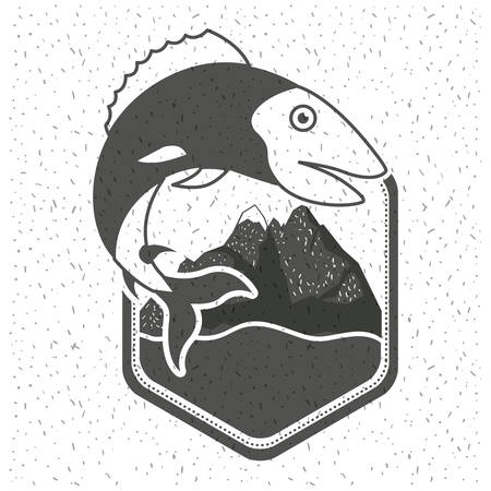 freshwater fish: white background with sparkle of monochrome silhouette emblem with fish and mountains with river vector illustration