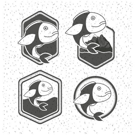 white background with sparkle of silhouette set shield with types of fish vector illustration Illustration