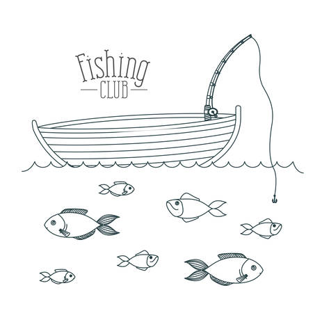 monochrome sketch silhouette boat fishing club and fish in the water vector illustration Illustration