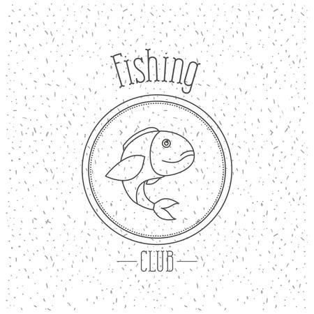 white background with sparkle of monochrome silhouette emblem with largemouth bass fish fishing club vector illustration