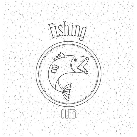 white background with sparkle of monochrome silhouette emblem with salmon bass fish  fishing club vector illustration Illustration