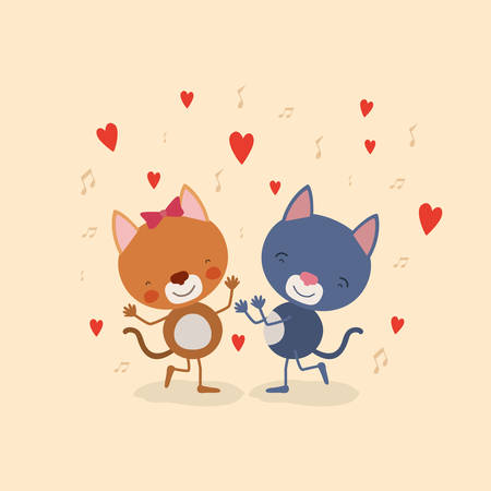 color background with couple of kittens dancing in love vector illustration
