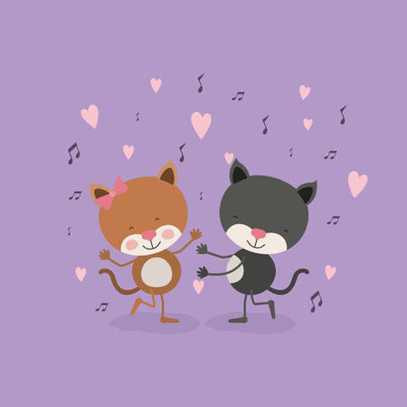 color background with couple of cats dancing in love vector illustration Illustration
