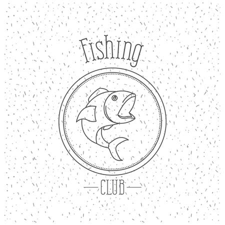 white background with sparkle of monochrome silhouette emblem with fish fishing club vector illustration