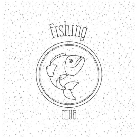 white background with sparkle of monochrome silhouette emblem with trout fish fishing club vector illustration