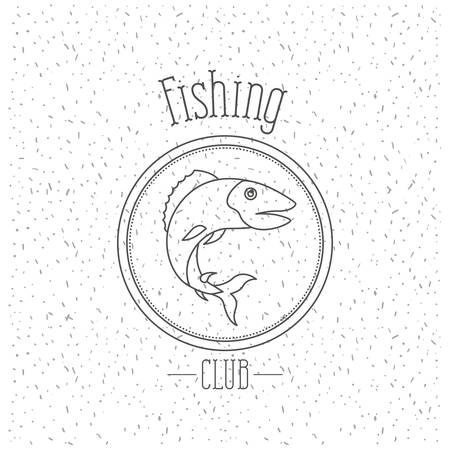 white background with sparkle of monochrome silhouette emblem with bass fish fishing club vector illustration