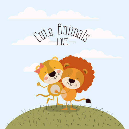 color scene sky landscape and grass with couple of lioness and lion one carrying the other cute animals love vector illustration Illustration