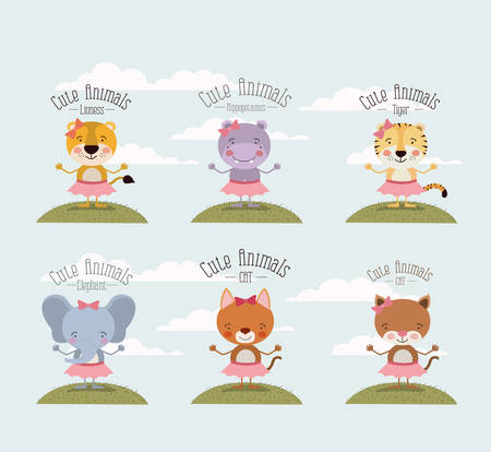 color scene set sky landscape and grass with female cute animals vector illustration 向量圖像