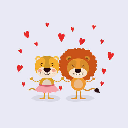 color background with couple of lioness and lion in love holding hands in love vector illustration