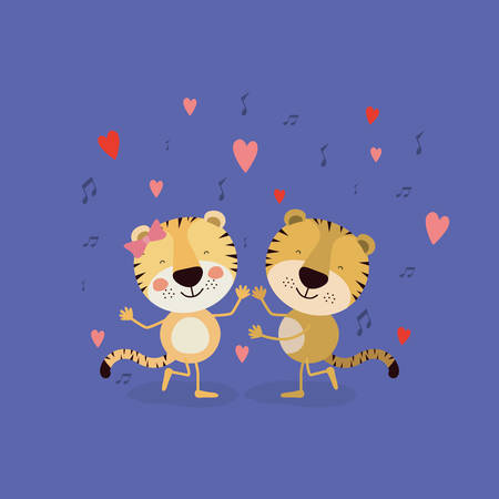 color background with couple of tigers dancing in love vector illustration