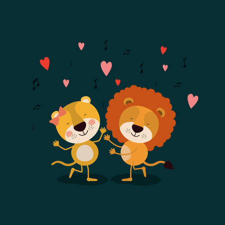 color background with couple of lioness and lion dancing in love vector illustration