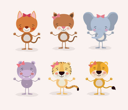 white background withset cute female animals love vector illustration