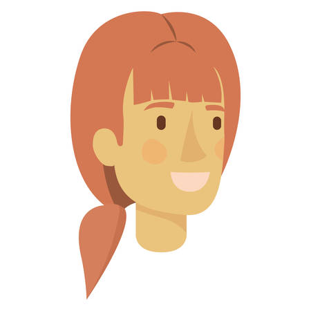 colorful silhouette of woman face with light red hair with ponytail and bangs vector illustration