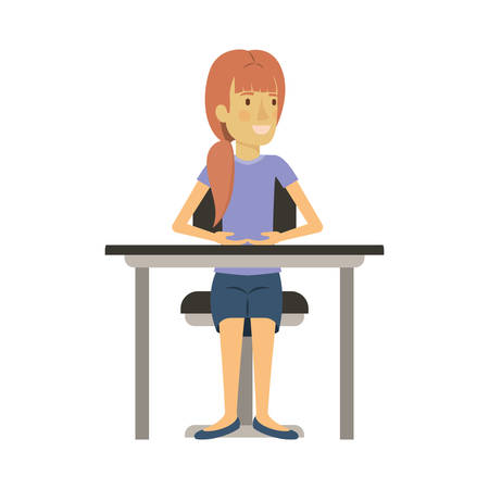colorful silhouette of woman with ponytail hair and sitting in chair in desktop vector illustration Illustration