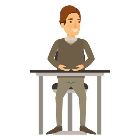smart man: colorful silhouette of man in formal clothes and brown hair side fringe and sitting in chair in desktop vector illustration