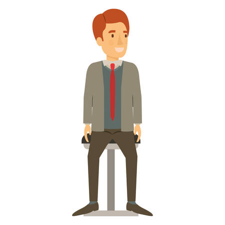 colorful silhouette of man with formal suit and red hair and sitting in chair vector illustration