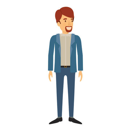 smart man: colorful silhouette of man stand with  beard in casual clothes and brown hair vector illustration Illustration