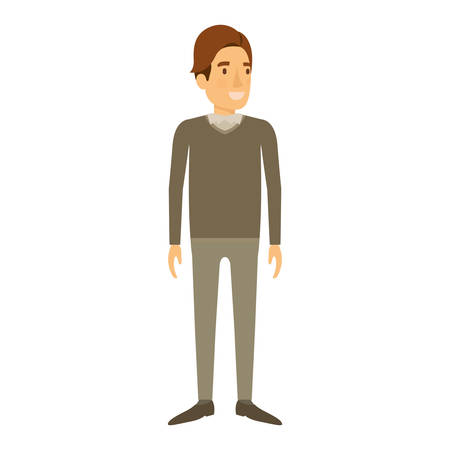 smart man: colorful silhouette of man stand in formal clothes and brown hair in side fringe vector illustration Illustration