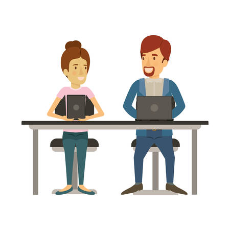 white background with teamwork of woman and man sitting in desk with tech devices and her with collected hair and him in casual clothes with  beard vector illustration
