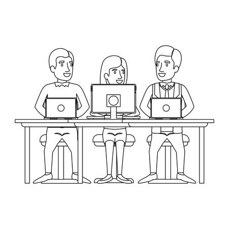 monochrome silhouette of teamwork of woman and men sitting in desk with tech devices vector illustration Иллюстрация
