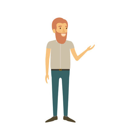 smart man: colorful silhouette of man with beard and standing in casual clothes vector illustration