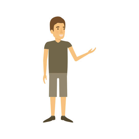 smart man: colorful silhouette of man standing in casual clothes with short pants vector illustration